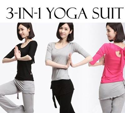 9072ce66b0671 One Set (3 Pcs) of Yoga / Pilates / Dancing Suit