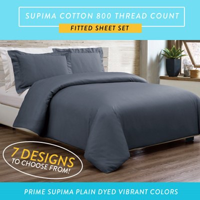 Supima Cotton 800TC Plain Dyed Fitted Sheet Sets 7 DESIGNS AVAILABLE!