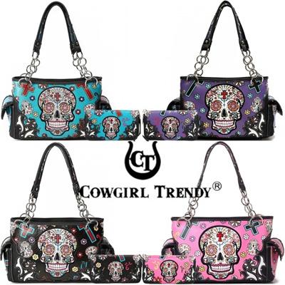 d5518e7b16e4 Cowgirl Trendy Western Concealed Carry Day of the Dead Cross Sugar Skull  Women Purse Handbag Shoulde