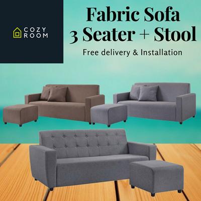 Qoo10 hottest sale fabric sofa living room furniture for Sofa 0 interest free credit
