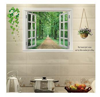 Creative Fake Window Landscape Wall Sticker Painting Warm Decorative Background Waterproof Removable