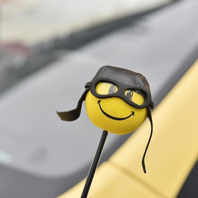Creative Lovely Car Auto Antenna Toppers Smiley Pilot Decor Topper (Size: 1  Pc)