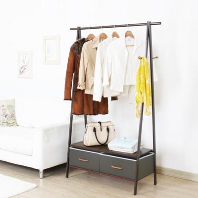 Creative Wrought Iron Coat Racks Bedroom Double Clothes Hanger Easy Shelf Floor