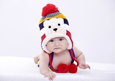 Crochet baby winter hat earflap baby boy girl bear cap stripped children s  hats and caps a4fcbe035