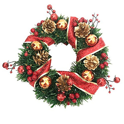 Crt Gucy 14 Inch Christmas Wreath Door Wall Wred Around The Red Ribbon Pine Cones