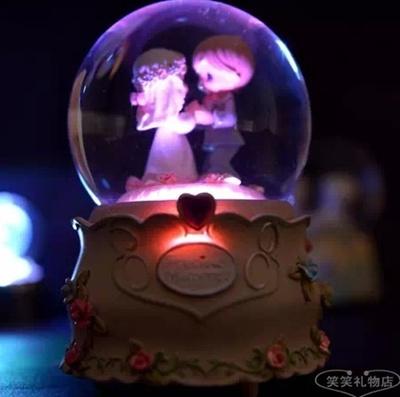Crystal Ball Music Box music box wedding gift birthday gift ideas  girlfriend boys luminous automatic