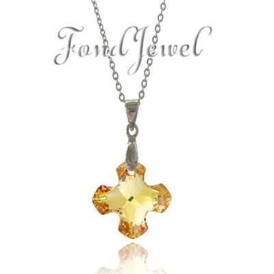 [Swarovski]Crystals from Swarovski® - GREEK CROSS PENDANT 18mm - Crystal  Metallic Sunshine - Ready Stock - SG