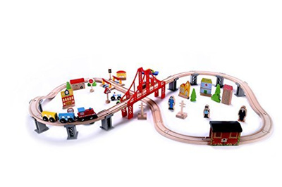 Cubbie Lee Toy Company Wooden Train Set 70 Pc Classic Toy Train Tracks Accessories Magne