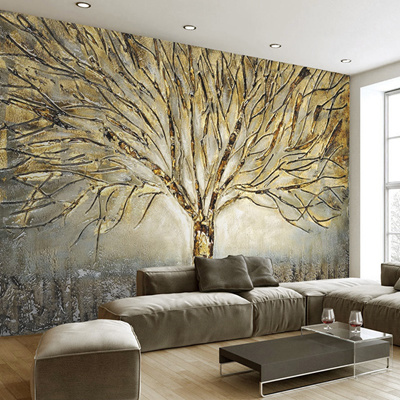 Custom 3d Wall Murals Wallpaper Modern Fashion Abstract Art Relief Oil Painting Tree Living Room Tv