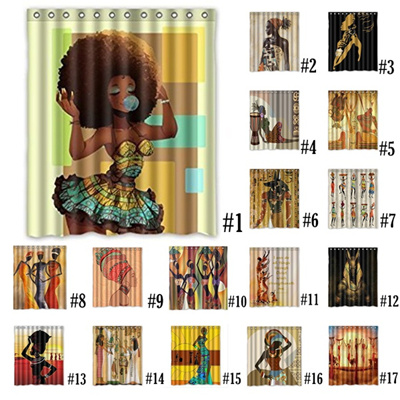 Custom Waterproof Bathroom African Woman Shower Curtain Polyester Fabric Size 72 X