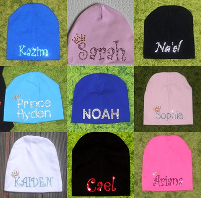 8c8b885cc Customised Name Personalised Newborn Baby Rhinestone Beanie Cap Hat