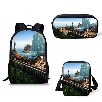 Customized Image School Backpack Shoulder bag pencil bag set Minecraft  Print School Bag Kids Boy Chi