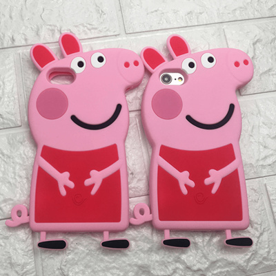 quality design 5c4b5 afb5a Cute 3D Cartoon Peppa Pig Phone Case For IPhone 5 6 7 8 plus X Soft  Silicone Cell Phone Shell Cover