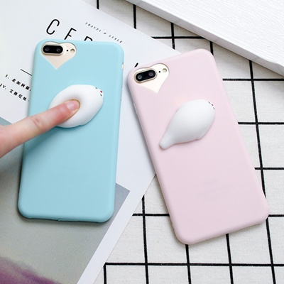 cheap for discount f4a1b fbf06 Cute 3D Seal Squishy Silicone Phone Case For iPhone 6 6 Plus 7 7Plus