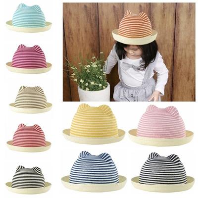 ea157e0e788 Qoo10 - Cute Boys Girls Kids Straw Hat Stripes Cat Ears Rolled Brim Domed  Cap ...   Kids Fashion