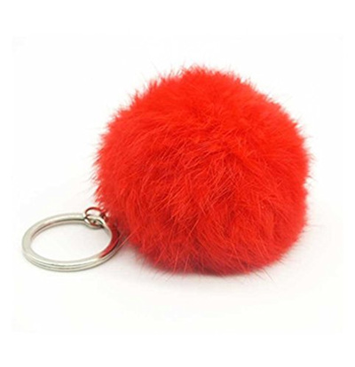 Cute Fake Rabbit Fur Softball Pompom Keychain For Women Bag Cars Fluffy  Keyring Pendant Porte Cle