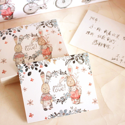 Qoo10 cute little cards thank you cards bunny message thanksgiving cute little cards thank you cards bunny message thanksgiving greeting card greeting cards 50 cards i m4hsunfo
