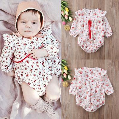 39c1c36ea00 Qoo10 - Cute Newborn Baby Girls Floral Long Sleeve Romper Bodysuit Jumpsuit  Ou...   Women s Clothing