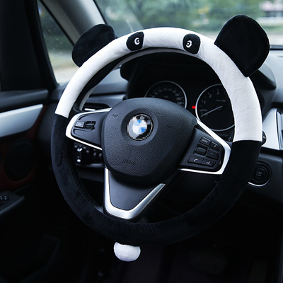Cute Panda Plush Set Of Fine Car Steering Wheel Cover Anti Skid Guarantee Winter Style Cartoon Steer