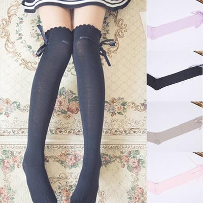 f2c3a632a Qoo10 - Cute Women Girls Bows Thigh High Stockings Over Knee Socks ...