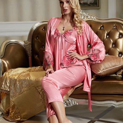 Qoo10 - Cute Women s Silk Satin 3 Piece Sleep Suit 3pcs Pajama Sets  Sleepwear...   Women s Clothing 78b328968