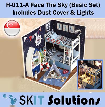 H-011 + A BOY DOLLHOUSE MINIATURE DIY KIT W// LIGHTS FACE THE SKY BOY ROOM