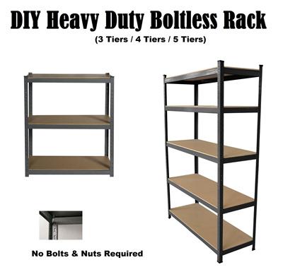 new concept 2a2de 61df6 D.I.Y Heavy Duty 5 Tier Boltless Shelves Rack ★Storage rack/Storage Box/★  Home/office racking