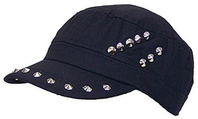 D&Y Womens Cadet Hat W/Spike Studs On Hat & Visor Elastafit (One Size)