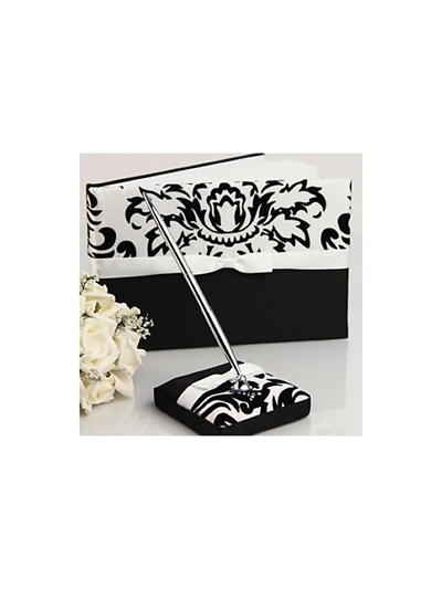 Qoo10 - Damask Design Wedding Guest Book and Pen Set in Satin With Ribbon    Women s Clothing 0aa49167dc