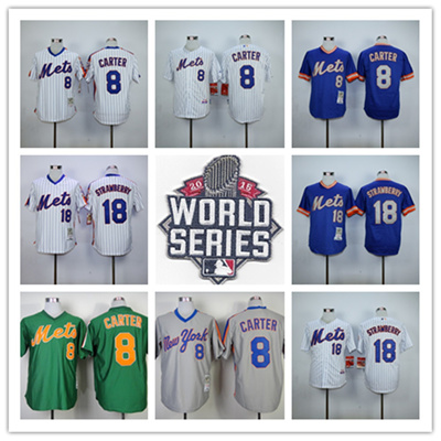 purchase cheap 67647 5dc5d Darryl Strawberry Gary Carter Jersey New York Mets 2015 World Series  Baseball Jerseys Throwback Size