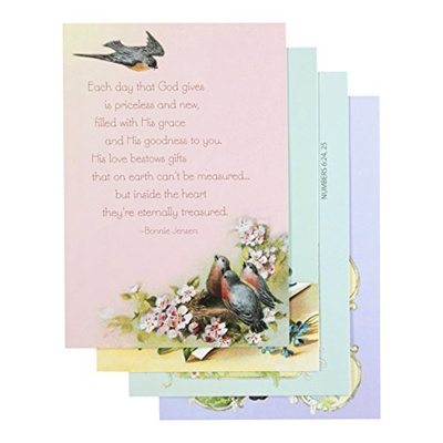 DaySpring Birthday Boxed Greeting Cards 12 Count With Embossed Envelopes Victorian Blessings