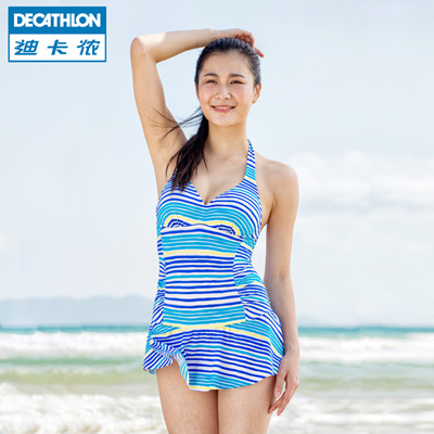 fbfecaaf31 Decathlon surf blue striped bikini one-piece swimsuits in summer TRIBORD