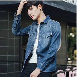 f92744f79c Denim shirt men s long sleeve shirt casual shirt shirt western shirt  classic thin slim wear thin