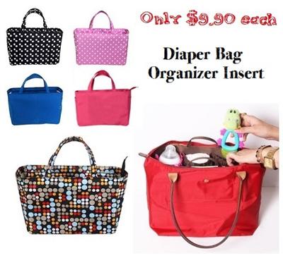 Diaper Bag Organizer With Parions And Zipper Closure