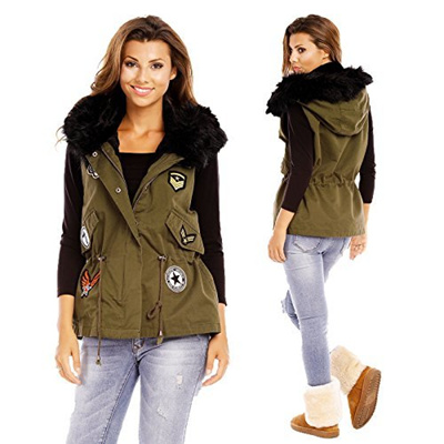new product df5d9 ddd35 Direct from Germany - 516610 Damen Weste Fell Kapuze Patches Jacke Military  Stil Parka