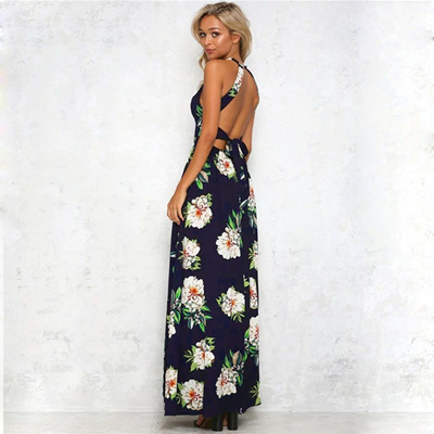 0f7685939ebb2 discount Ruiyige Floral Print Halter Chiffon Long Dress Women Backless 2018  Maxi Dresses Vestidos Se