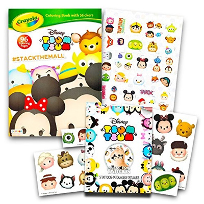 Disney Tsum Coloring Book Set Jumbo Stickers And Temporary Tattoos