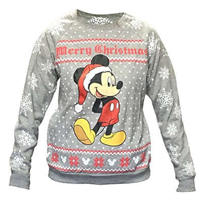 Disney Ugly Christmas Sweater.Disney Womens Mickey Mouse Ugly Christmas Sweater Fleece Sweatshirt Plus Size Medium Grey
