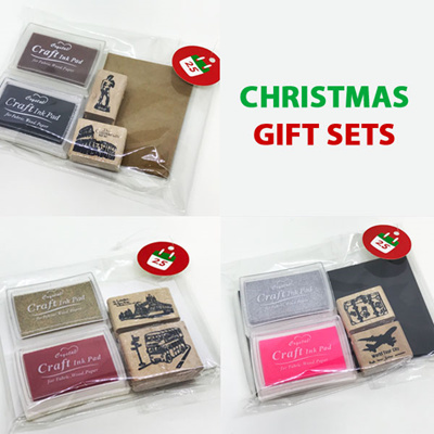 Christmas Gift Sets Diy.Diy Scrapbook Art Crafting Christmas Gift Set Kraft Card Rubber Stamp Ink Pad Wedding Reception Set
