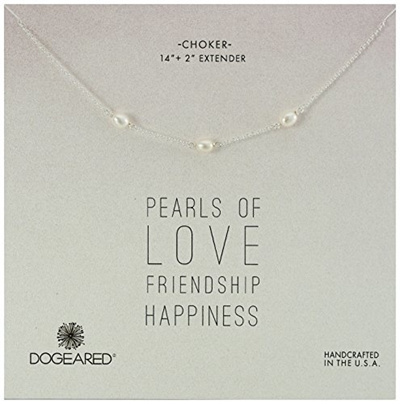 """Dogeared Sterling Silver Small Pearls Of Friendship 16/""""-18/""""  Boxed Necklace"""