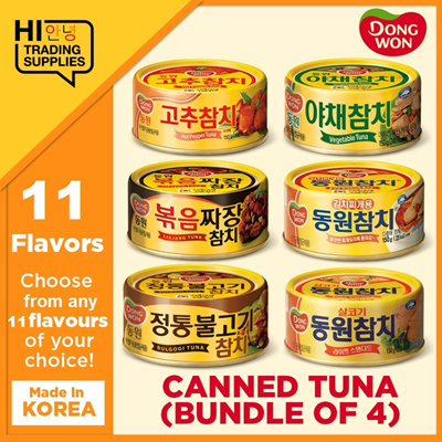 Dongwon F&B[Hi Trading] DongWon Canned Tuna / Bundle of 4 / 14 Flavours /  150g / MADE IN KOREA / Healthy Tuna