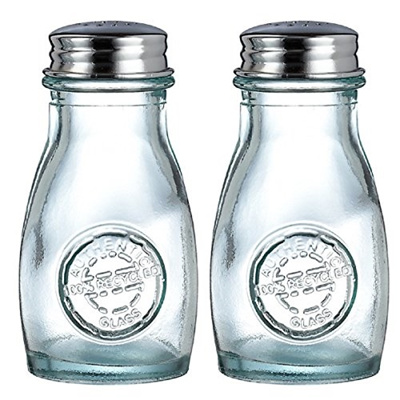 Down To Earth Distributors Recycled Glass Authentic Collection Salt and  Pepper Shaker with Stainless