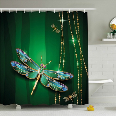 Dragonfly Shower Curtain Vivid Figures In Gemstone Crystal Diamond Shapes Graphic Artsy Effects F