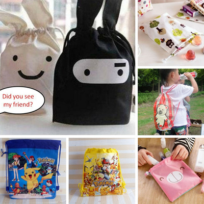 878929334769 Drawstring Bag [Bunny][Ninja][pokemon] all purpose pocket pouch carrier