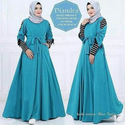 Qoo10 Dress Wanita Baju Gamis Diandra Dress Clothing