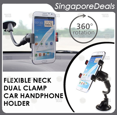 Qoo10 Dual Clamp Gooseneck Car Handphone Holder Fits Note 5 Iphone