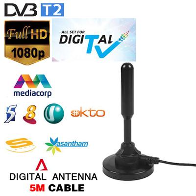 Dual signal Booster amplifier indoor antenna gain 30 dBi use at dvb-t2  digital tv box tv receiver