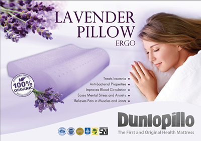 [Dunlopillo] 100% Natural Latex + Lavender (Ergo) Pillow | ダンロピロー天然