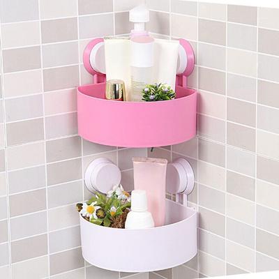 Durable Plastic Bathroom Storage Shelf Kitchen Storage Holder Kitchenware Toiletry Bathroom Organizer with Sucker & Qoo10 - Durable Plastic Bathroom Storage Shelf Kitchen Storage ...