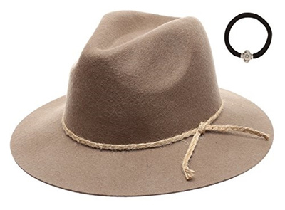 c53b97ba305 DY Womens 100% Wool Felt Cloche Short Brim Floppy Fedora Hat with Scrunchy